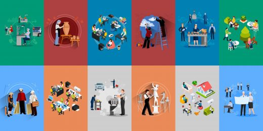 Différentes professions en vectoriel