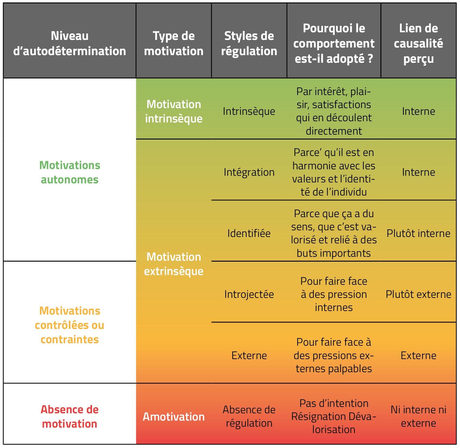 Les différents types de motivation et leur régulation