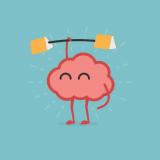 Cerveau qui soulève un haltère de livres