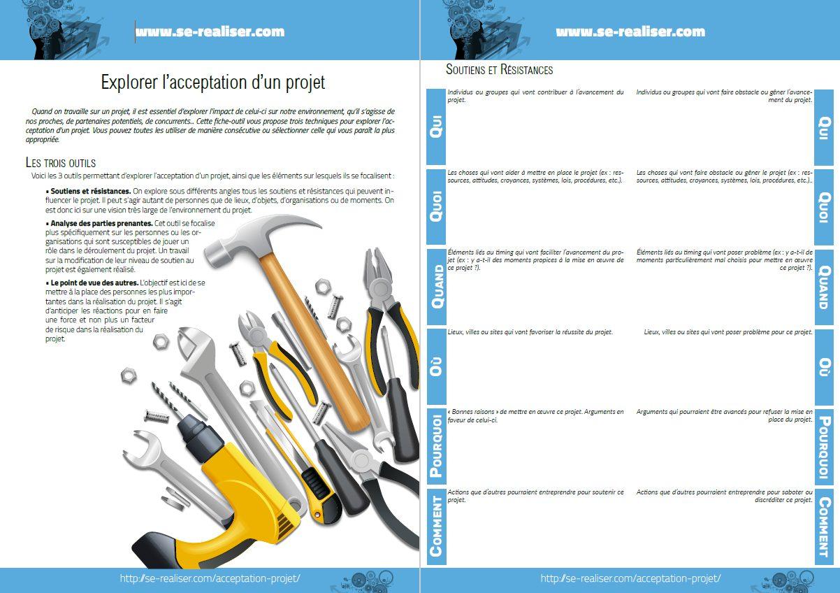 Fiche pdf contenant 3 outils pour explorer l'acceptation d'un projet