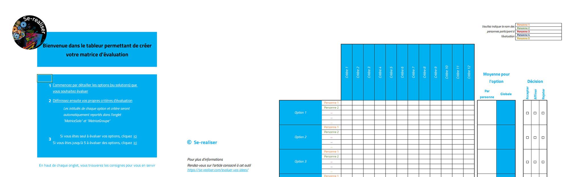 Aperçu Excel de la matrice d'évaluation