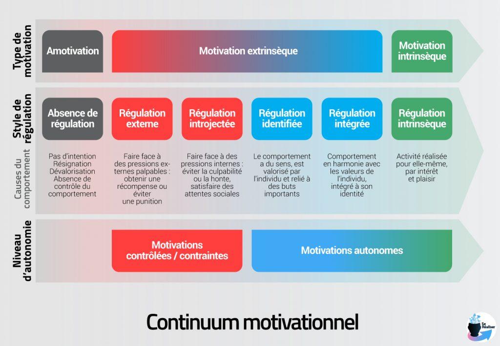 Diagramme reprenant l'ensemble des types de motivation