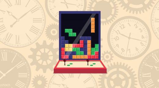 Borne d'arcade stylisée de tétris avec des horloges en fond