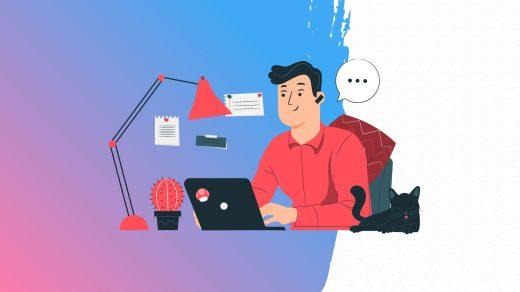 Dessin d'un homme travaillant sur ordinateur portable de chez lui