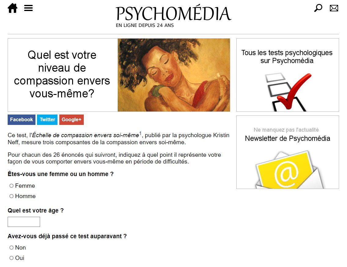 Aperçu de la page de l'échelle d'autocompassion sur le site psychomedia.qc.ca