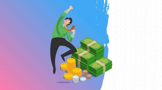 Dessin d'un homme qui saute de joie devant des billets et des pièces de monnaie
