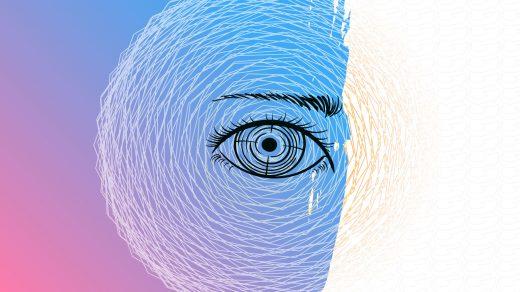 Dessin d'un œil au centre de multiples cercles