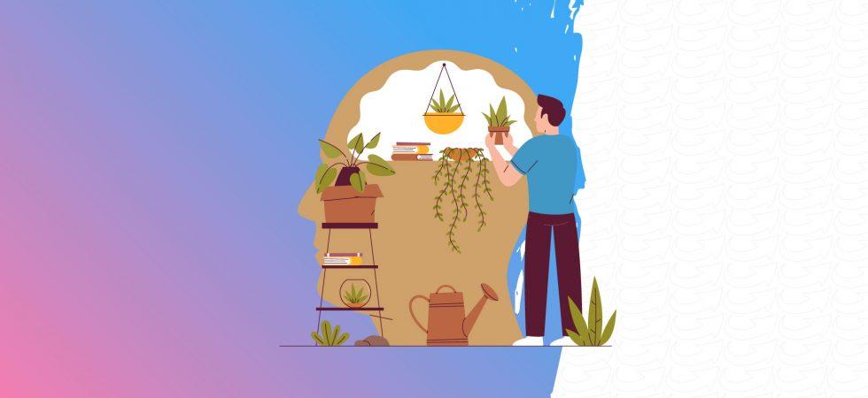 Dessin d'une personne qui s'occupe de plantes posées sur une étagère en forme de tête