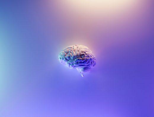 Image 3D de cerveau sur fond violet