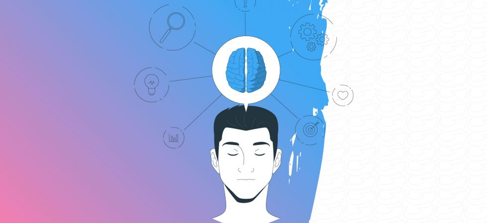 Dessin de la tête d'un homme et de son cerveau entourés d'icônes représentant divers éléments relatifs à la cognition