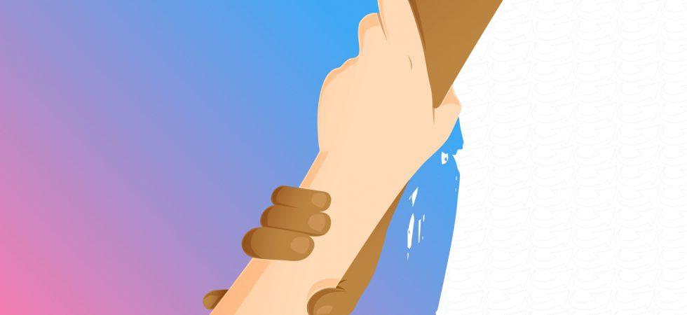 Dessin de deux mains qui se tiennent