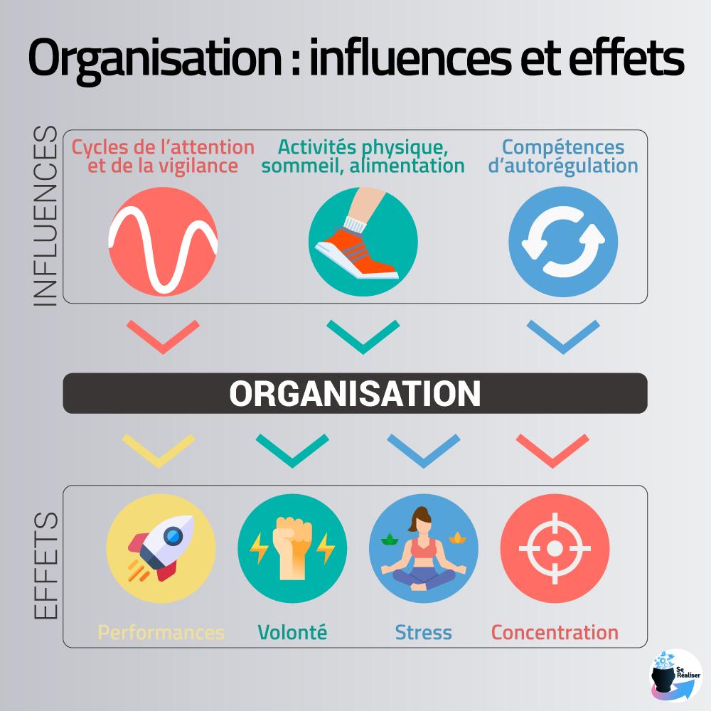 Résumé avec icônes des influences et effets principaux de l'organisation